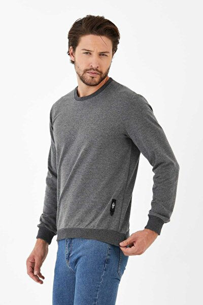 Erkek Gri Basic Bisiklet Yaka Düz Rahat Sweatshirt