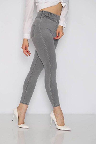 Kadın Toka Detay Skinny Jean Gri