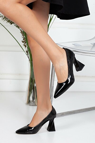, Özel Üretim, Tarz Topuk, Siyah Lüks Kırışık Rugan Stiletto, Kadın