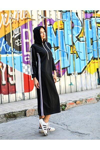 Kadın  Siyah Kapüşonlu Yanda Ve Kolda Şerit Detaylı Cepli Maxi Boy Örme Sweat Elbise