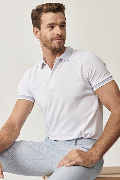 Düğmeli Polo Yaka Cepsiz Slim Fit Dar Kesim Düz Tişört