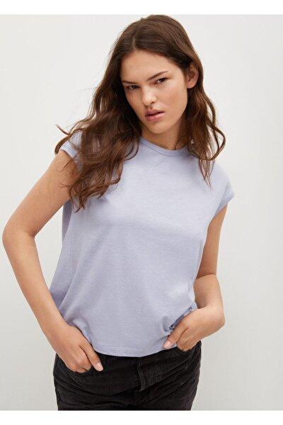 Kadın Gök Mavisi Sırtı Cut-out Kesim Pamuklu Tişört