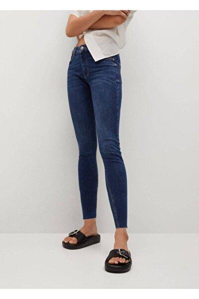 Kadın Koyu Mavi Kısa Paçalı Skinny Isa Jean Pantolon