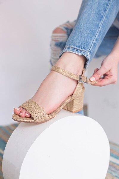 Rocina Hasır Kalın Topuklu Sandalet