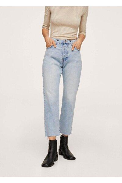 Kadın Açık Mavi Düz Kesim Bilekte Jean Pantolon