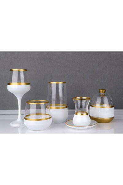 Gold Şeritli Beyaz 31 Parça Bardak Seti