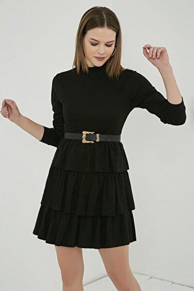 Kadın Siyah Uzun Kol Kat Detay Kısa Elbise