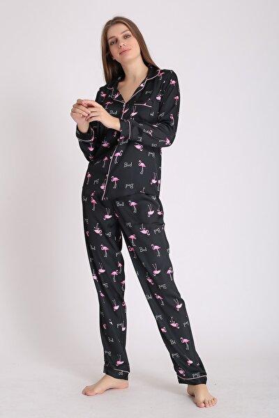 Kadın Siyah Flamingo Desenli İpek Saten Uzun Kollu Pijama Takımı