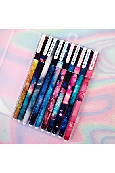 10 Lu Gökkuşağı Galaxy Renkli Jel Kalem Seti