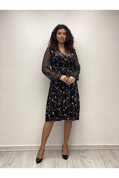 Kadın Siyah Sarı Kolları Şifon Kadife Elbise