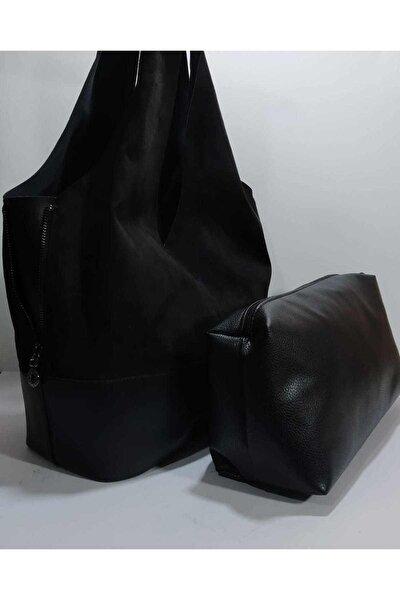 Kadın Siyah Süet İç Çantalı Çantası