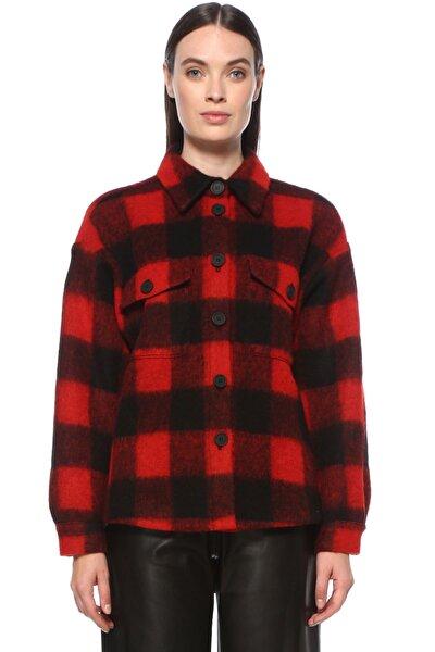 Kadın Kırmızı Ekose Siyah Ceket 1077382