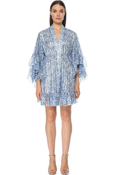 Kadın Mavi Desen Elbise 1075569