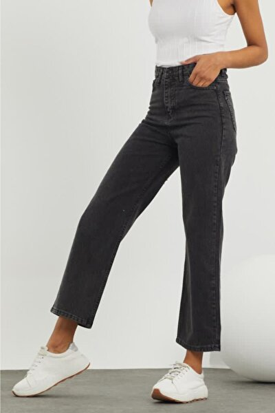 Kadın Antrasit Geniş Paça Kot Pantolon