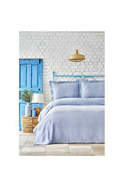 Stella Açık Mavi Çift Kişilik Yatak Örtüsü Seti
