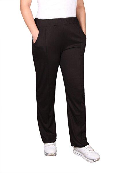 Kadın Siyah Rahat  Beli Lastikli Sonbahar Kış Pantolon