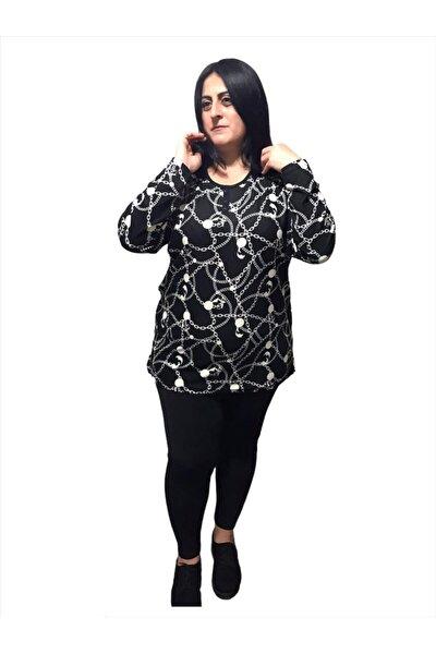 Kadın Siyah Büyük beden Zincir Desenli Kadife Süet Kumaş Bluz