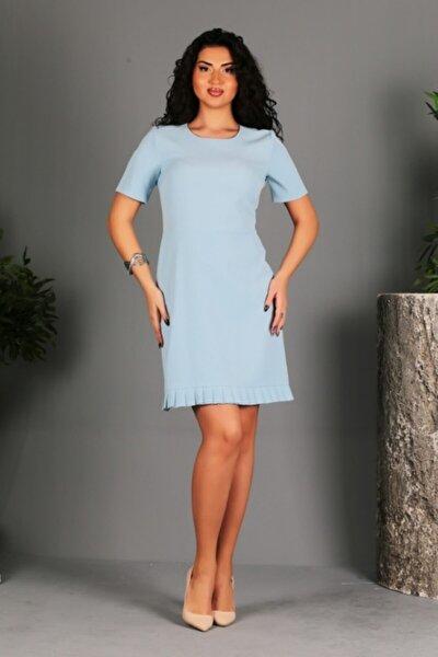 Mavi Etek Ucu Pilise Detaylı Elbise