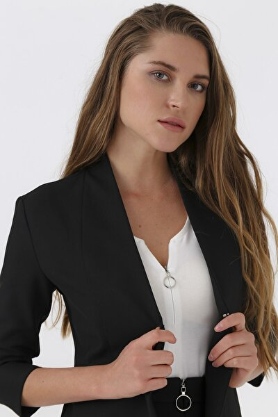 Kadın Siyah Jolly V Yaka Flato Cepli Capri Kol Ceket