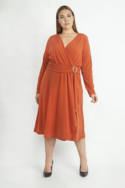 Kadın Oranj Bel Detaylı Abiye Elbise 65N19418