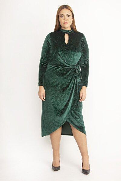 Kadın Renkli Anvelop Yakalı Astarsız Şifon Kap Elbise 65N20532