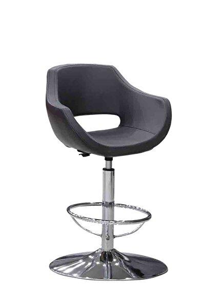 Viva - Siyah, Deri, Metal Ayaklı Bar Sandalyesi - Kafe Sandalyesi