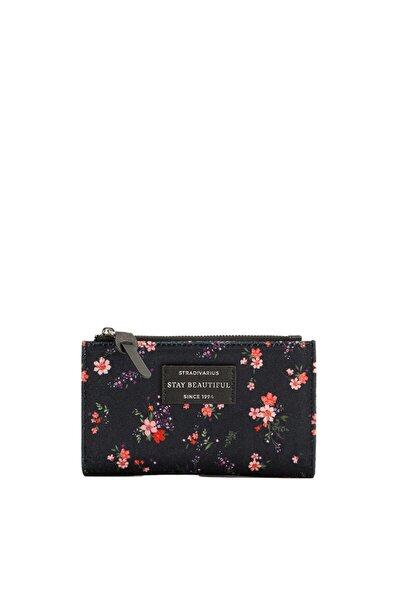 Kadın Siyah Çiçekli Bozuk Para Cüzdanı 03737001