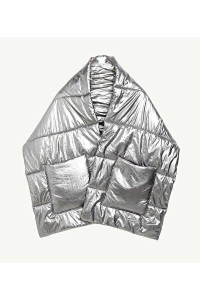 Kadın Metalik Metalik Görünümlü Cep Detaylı Panço 0KKSL1906X