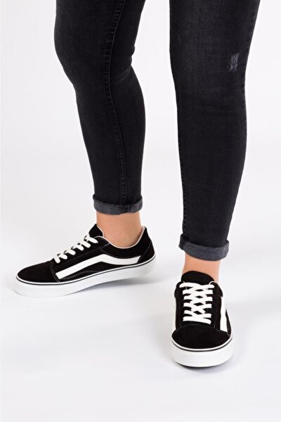 Kadın Siyah Süet Günlük Spor Ayakkabı