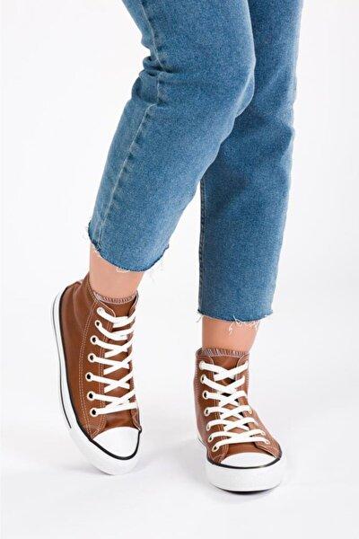 Kadın Kahverengi Cilt Uzun Spor Ayakkabı