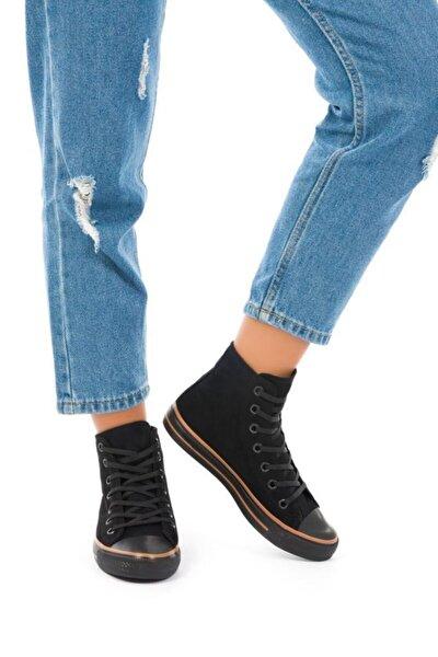 Kadın Siyah Süet Uzun Spor Ayakkabı