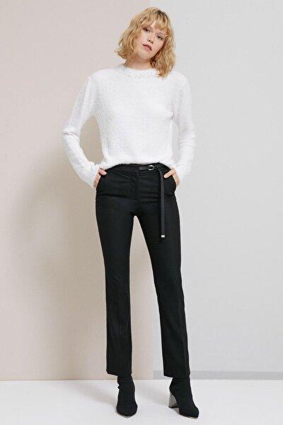 Kadın Siyah Doli Kemer Detaylı Siyah Kumaş Pantolon