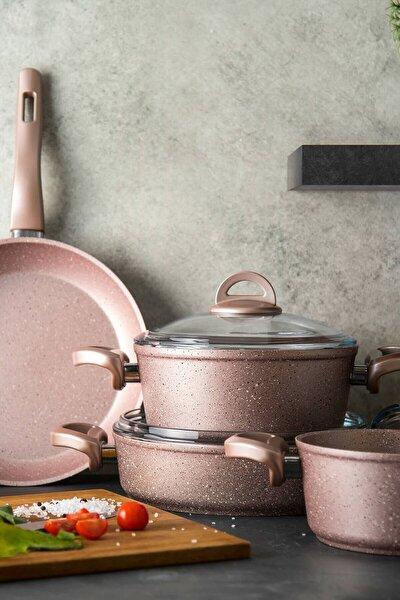 Premium Granit 7 Parça Golden Pink Tencere Seti