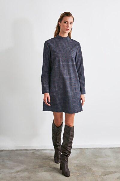 Lacivert Kareli Elbise TWOAW21EL2285