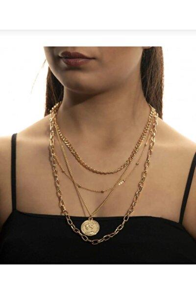 Gold Kadın Madalyon Kombin Kolye