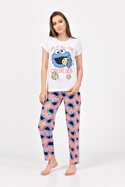 Kadın Beyaz Mavi Baskılı Pijama Takımı