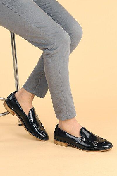 Erkek Siyah Rugan Günlük Kemerli Klasik Ayakkabı