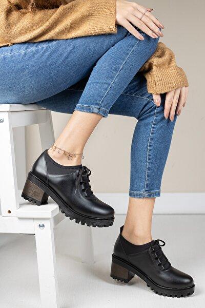 Siyah Cilt Kadın Streç Bağcıklı Ayakkabı Md1045-115-0004