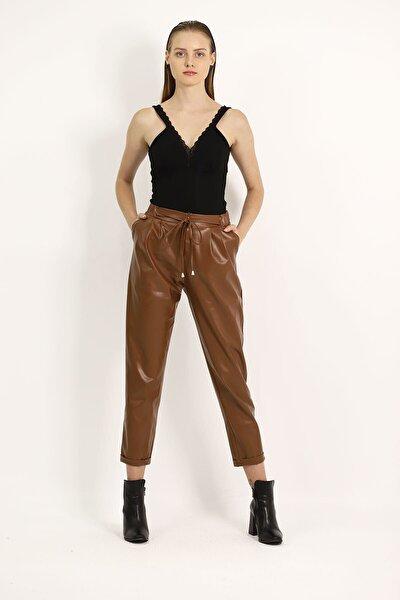 Kadın Kahverengi Bel Bağcıklı Deri Pantolon