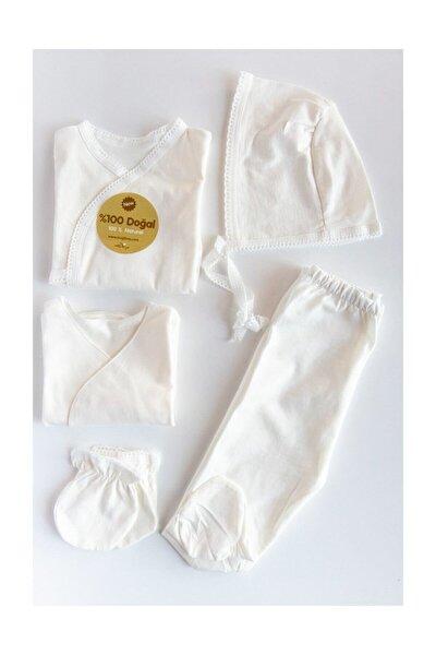 Unisex Bebek Beyaz 5 Parça Zıbın Seti