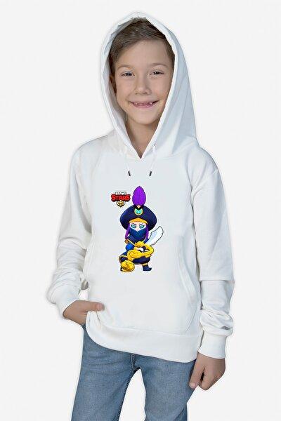 Çocuk Beyaz Baskılı Kapüşonlu Sweatshirt