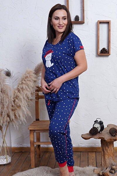 Kadın İndigo Mavi Büyük Beden Örme Kısa Kol Pijama Takım