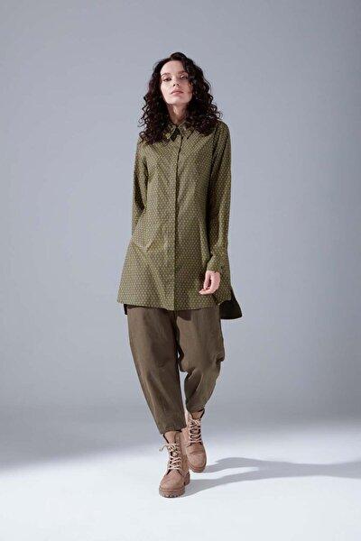 Kadın Haki Desenli Gömlek Tunik