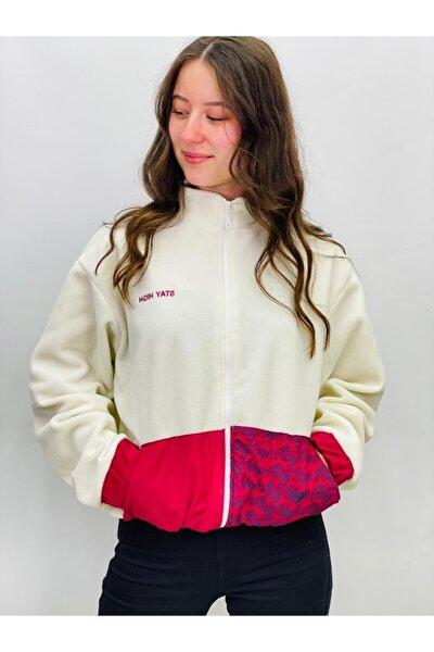 Kadın Beyaz Sırt Yazı Detay Ceket