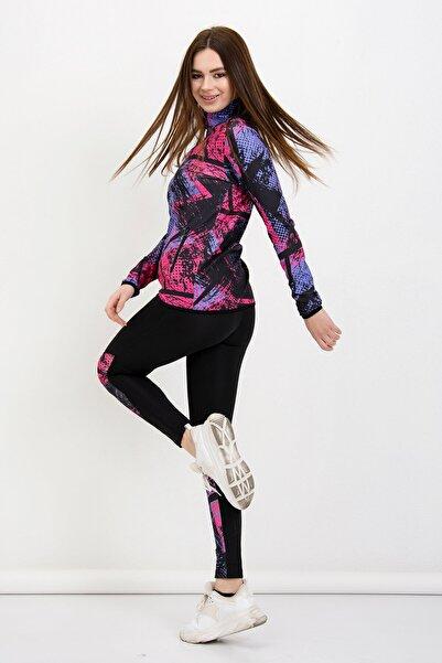 Kadın Mor Fitness Sporcu Taytlı Eşofman Takım