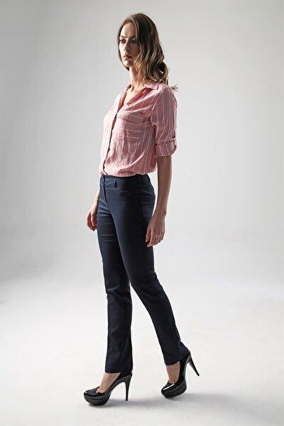 Kadın Lacivert Yüksek Bel Dar Paça Pamuklu Uzun Ofis Pantolon