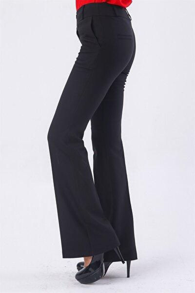 Kadın Siyah Yüksek Bel Cepli İspanyol Paça Pantolon
