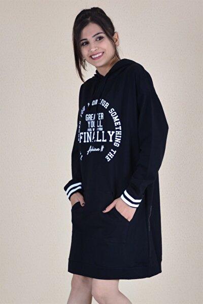 Kadın Siyah Yazı Baskılı Sweatshirt
