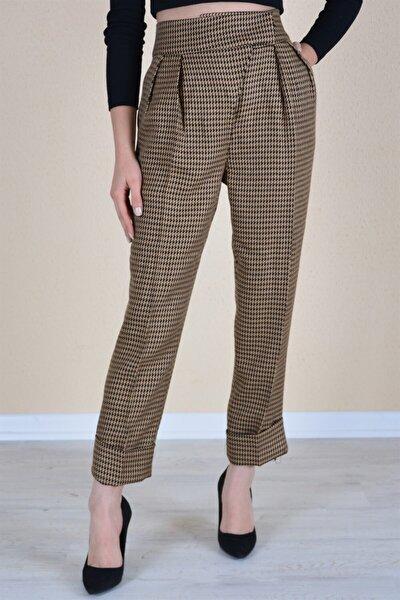 Kadın Kahve Kruvaze Double Paça Pantolon