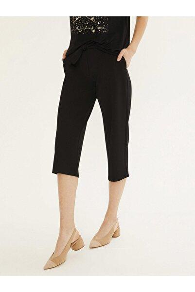 Kadın Siyah Yüksek Bel Bağlamalı Viscon Pantolon